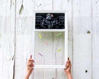Prayer Board, Framed message Board, Bible Verse Board, Rustic Custom message organizer, Personalized Chalkboard, Family message center