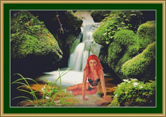 At The Mystical Waterfall Cross Stitch Pattern /Digital PDF Files /Instant downloadable