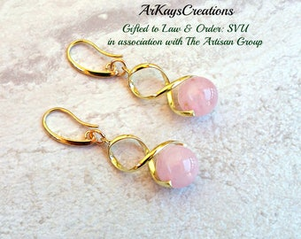 Rose Quartz Earrings Gold, Yellow Gold Quartz Dangle Earrings, Swirl Earrings, Gift for Her, Birthday, For Women