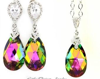 Vitrail Medium Swarovski Crystal Jewelry Bridesmaid Earrings & Necklace Set Pink Green Jewelry Fuchsia Emerald Green Cubic Zirconia VM32JS