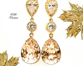 Champagne Bridal Earrings Silk Earrings Neutral Earrings Nude Color Jewelry Swarovski Earring Sparkly Gold Earring Bridesmaid Earring CH31PC