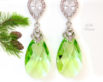 Light Green Earrings Green Drop Earrings Crystal Earrings Swarovski Peridot Bridesmaid Gift Pastel Green Earrings Green Jewelry PD32P