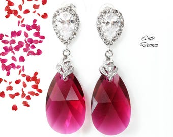 Ruby Earrings Swarovski Earrings Fuchsia Earrings Pink Earrings Bridal Jewelry Statement Bridesmaid Earrings Cubic Zirconia Earrings RP32P