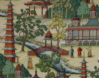 MANUEL CANOVAS Pagoda Asian CHINOISERIE Toile Fabric 10 Yards Rouge Multi