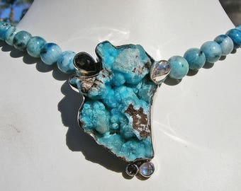 BLUE HEMIMORPHITE NECKLACE, Natural Druzy Hemimorphite, One Of a Kind, Rainbow Moonstone and Smoky Quartz Accents, Sterling Silver