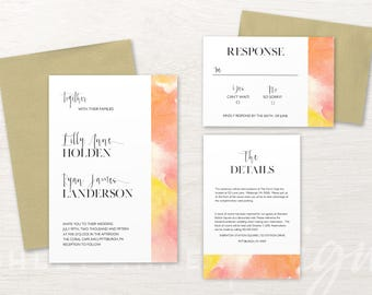 Yellow Wedding Invitations, Orange Wedding Invitation, Watercolor, Calligraphy, Wedding invitation Set