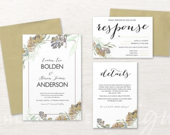 wedding invitation suite mint wedding invitation plum purple gold floral - Mint And Gold Wedding Invitations