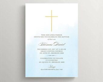 Boy Baptism Invitation \ Boy Christening Invitation \ Holy Communion Invite \ Blue and Gold (CH54)