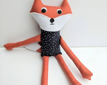 Orange Fox Stuffed Animal with Bushy Tail