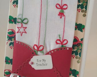 Christmas In July Handkerchief Christmas Bells Stars Ornaments Vintage Embroidered Keepsake Teacher Friend Relative Gift Hankie Card