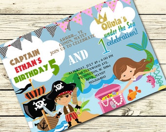 Pirate and Mermaid BIRTHDAY Party INVITATION for SIBLINGS, Brother and Sister - Pirate Birthday Invite, Mermaid Birthday Invite