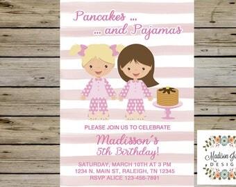 Pancakes and Pajamas Invitation, Girl Birthday Invite, Pajama Party, Sleepover, Digital Printable Birthday Invitation, Pancakes Pajamas