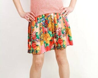 SALE Vintage Floral Accordion Mini Skirt
