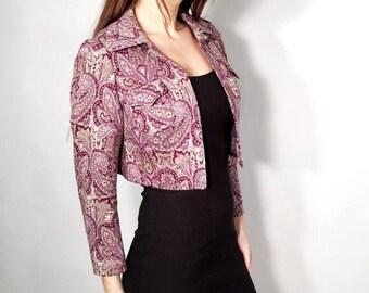 SALE Vintage Bolero / Wool Bolero / Del Mod International /  Paisley Jacket / Cropped Jacket