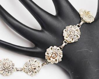 Celluloid Flower Link Bracelet - Featherlite Bubblelite - molded plastice  Off white floral bracelet