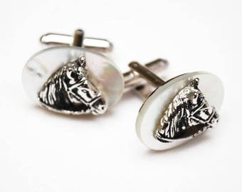 Horse Cuff links - White mother of pearl -  silver horse head - Wedding Groom - Equestrian Cuff-links