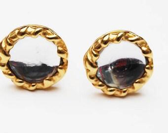 DKNY Gold Mirror Earrings - Clip on earrings - Bold  Chunky earring - Donna Karan - Signed
