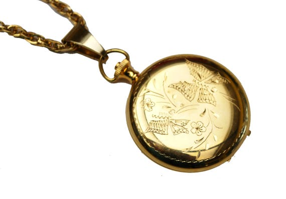 Gold  Locket Pendant -Butterfly etched design - two photos - Victorian revival pendant