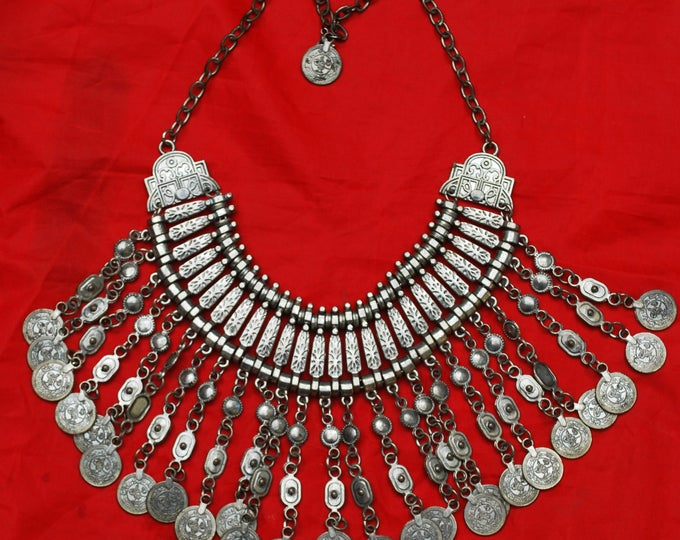 Silver Coin Bib Necklace - Boho Gypsy - Tribal Dangle Coin - Statement Necklace