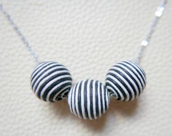 3 navy beads Necklace