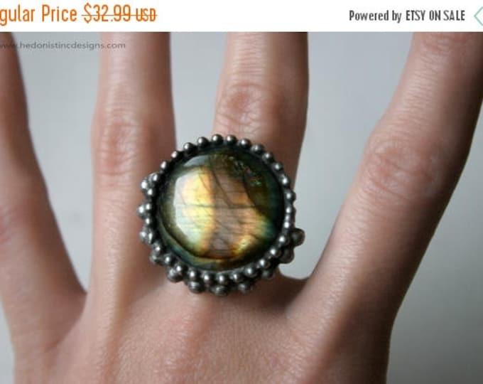 GIFT SALE Purple Stripe Labradorite Eclipse Ring // Rainbow Labradorite Statement Ring