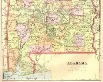 Alabama map Etsy