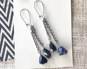 Long drop earrings, blue silver gemstone earrings, long dangle earrings, cluster beads, rough cut sodalite