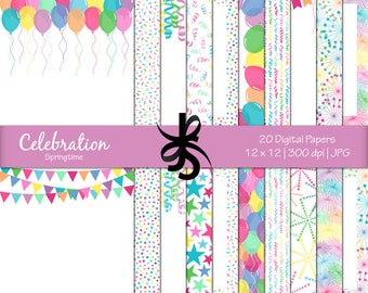 Digital Scrapbook Papers-Celebration-Springtime-Birthday Papers-Party-Balloons-Confetti-Banners-Backgrounds-Instant Download Clip Art