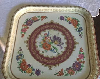 Mid Century Dahr England Colorful Floral Drink/Tin Serving Tray-Wall Decor