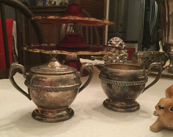 Gorgeous Silverplate Creamer and Sugar Bowl with Lid-Rope Design