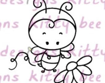 Flower Bumble Bee Digital Stamp