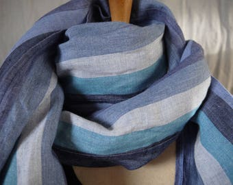 Very long scarf/shawl in 100% linen - male-female - shades of blue stripes