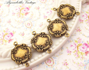 Antiqued Brass Ox Ornate Floral Victorian Connectors 19x14mm - 4