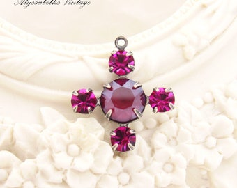 Matte Burgundy and Fuchsia Swarovski Rhinestone Cross Pendants, Drops or 1 Ring Charms in Raw Brass or Antique Silver Settings - 2