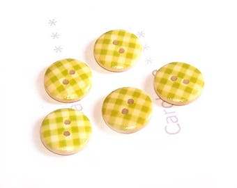 Small buttons 15 mm x 5, green lime and white GINGHAM wooden