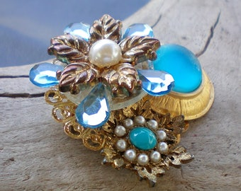 Turquoise & aqua floral pin or brooch,Recycled jewelry,Handmade jewelry,Repurposed jewelry,Upcycled jewelry,Free USA shipping,Made in USA/MI