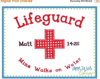 50% Off Lifeguard with Bible Verse Design applique digital design for embroidery machine by Applique Corner