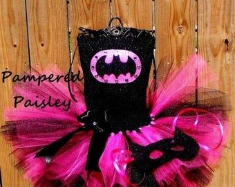 PRE HALLOWEEN SALE Superhero  tutu dress - bat costume Halloween - Halloween tutu - Toddler Costume, Batgirl Halloween Costume - Baby B