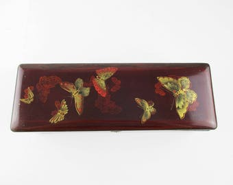 A Lacquered Butterfly Box - Box With Hinged Lid - Deep Red Outside - Black Inside - Hidden Hinges - Butterlfies of All Types
