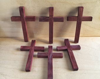 Mini Wooden Crosses, 3 1/4 inches tall by 2 inches wide. Set of 6 crosses.