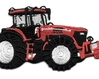 Farm Tractor - Farm Equipment - Red - Fully Embroidered Iron On Patch - Right