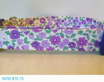 """Sale - 50% Off Dog Collar - Vintage Inspired Purple Floral Dog Collar """"Pansie"""" - Free Colored Buckles"""