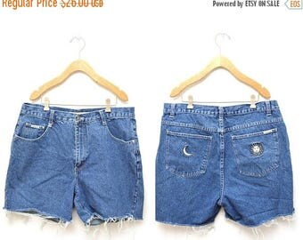 "ON SALE 90s Blue Denim Cut Off Shorts High Waisted Women's 36"" Waist Plus Size"