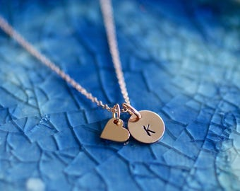 Rose Gold Initial Necklace - Rose Gold Heart - Initial Necklace - Initial Charms - Rose Gold Initials - Rose Gold Necklace - Rose Gold Charm