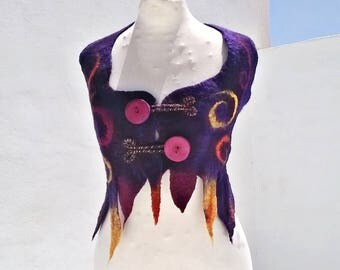 SALE Cosmic Circus Felted Halter Vest
