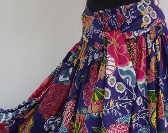multicolored floral  cotton maxi skirt 45 panels