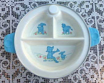 3 Section Baby Dish/Excello Warming Dish/Little Boy Blue/Vintage Baby Gift/Child's Warming Dish/Excello Baby Dish/3 Section Dish/1950's Baby