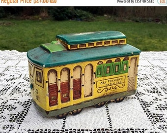 17% OFF SALE Chalkware Trolley Bank/San Francisco Cable Car/R Dakin 1968 Chalkware Japan/Vintage Chalkware Bank/Cable Car Coin Bank