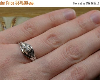 DEADsy LAST GASP SALE Vintage White Gold Wedding Set // Diamond Wedding Set // White Gold Engagement Ring
