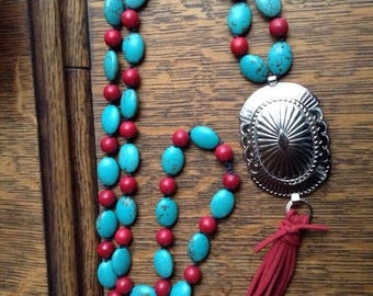 ON SALE Western silver  concho and red suede tassel with knotted turquoise magnesite and ted magnesite necklace #NK20